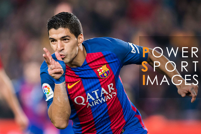 Luis Suarez of FC Barcelona celebrates during their Copa del Rey 2016-17 Semi-final match between FC Barcelona and Atletico de Madrid at the Camp Nou on 07 February 2017 in Barcelona, Spain. Photo by Diego Gonzalez Souto / Power Sport Images