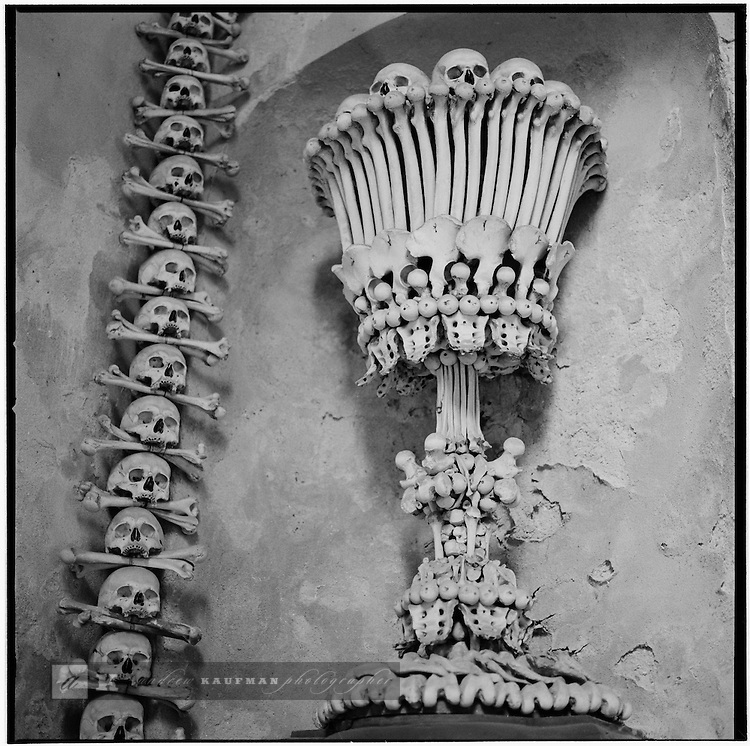 In Kutna Hora is the Church of Bones. 40,000 dead form this interior design of a church that is over  130 years old.