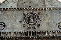 Italy: Assisi--Duomo San Rufino--Facade, Rose Window. Photo '85.