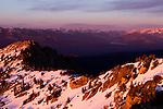 Snow-covered ridgeline, Kaiser Peak, Kaiser Wilderness Area, Sierra Nevada, California