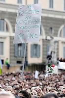 """""""Se non ora quando?"""": manifestazione contro il presidente del consiglio, per il rispetto della dignita' e dei diritti delle donne, a Roma, 13 febbraio 2011..Women attend the """"If not now, when?"""" rally against the Italian premier, to ask for respect of their dignity and rights, in Rome, 13 february 2011..The sign reads """"Italian women are neither bigoted nor courtesans""""..UPDATE IMAGES PRESS/Riccardo De Luca"""