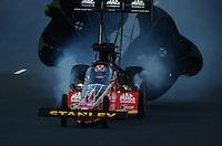 Jul. 18, 2014; Morrison, CO, USA; NHRA top fuel driver Doug Kalitta during qualifying for the Mile High Nationals at Bandimere Speedway. Mandatory Credit: Mark J. Rebilas-