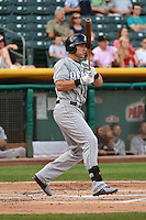 Mike Jacobs (6) of the Reno Aces at bat against the Salt Lake Bees in Pacific Coast League action at Smith's Ballpark on July 23, 2014 in Salt Lake City, Utah.  (Stephen Smith/Four Seam Images)
