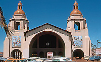 San Diego: Santa Fe Depot, 1915. Mission Revival. Bakewell & Brown, Architects. 1050 Kettner. Photo '78. NRHP 1972
