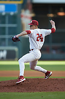 Oklahoma Sooners starting pitcher Cade Cavalli (24) in action against the Arkansas Razorbacks in game two of the 2020 Shriners Hospitals for Children College Classic at Minute Maid Park on February 28, 2020 in Houston, Texas. The Sooners defeated the Razorbacks 6-3. (Brian Westerholt/Four Seam Images)