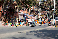 Jaipur, Rajasthan, India.  Fruit and Vegetable Vendors Line the Side of the Road in Central Jaipur.