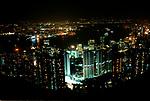Hong Kong Island, view from top of Victoria Peak, buildings lit up at night. Looking down towards  Kowloon mainland Hong Kong  1990s China