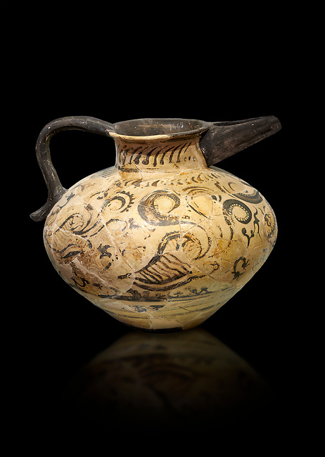Minoan  beak spouted rhython with nautilus, coral and seaweed design, Phaistos Palace 1500-1450 BC; Heraklion Archaeological  Museum, black background.
