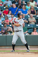 Joe Sever (7) of the Carolina Mudcats at bat against the Winston-Salem Dash at BB&T Ballpark on June 6, 2014 in Winston-Salem, North Carolina.  The Mudcats defeated the Dash 3-1.  (Brian Westerholt/Four Seam Images)