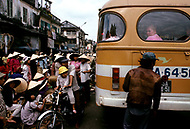 Danang, February 1988. Tourism an eye contact with Russian woman in her bus.