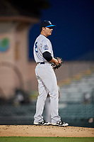 Tampa Tarpons relief pitcher Justin Kamplain (8) looks in for the sign during a game against the Bradenton Marauders on April 25, 2018 at LECOM Park in Bradenton, Florida.  Tampa defeated Bradenton 7-3.  (Mike Janes/Four Seam Images)