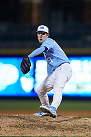 North Carolina Tar Heels relief pitcher Kyle Blendinger (39) in action against the Charlotte 49ers at BB&T BallPark on March 27, 2018 in Charlotte, North Carolina. The Tar Heels defeated the 49ers 14-2. (Brian Westerholt/Four Seam Images)