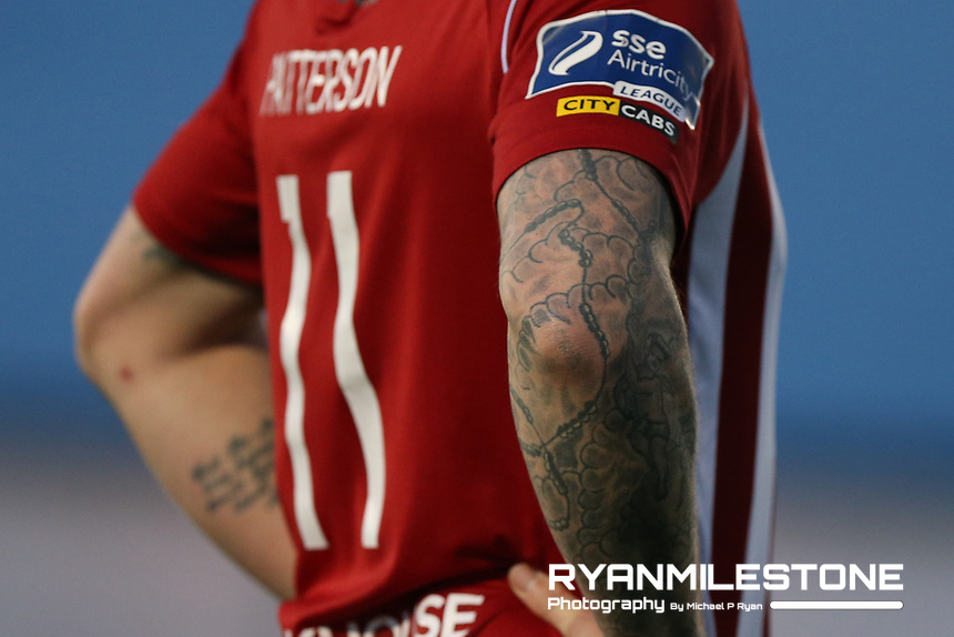 General View of Rory Patterson tattoos during the SSE Airtricity League Premier Division game between Limerick and Derry City on Monday 30th April 2018 at Markets Field, Limerick. Photo By Michael P Ryan