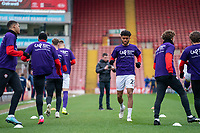 2nd April 2021, Oakwell Stadium, Barnsley, Yorkshire, England; English Football League Championship Football, Barnsley FC versus Reading; Romal Palmer of Barnsley warming up in the middle of the Barnsley squad