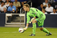 Sporting KC goalkeeper Eric Kronberg rolls the ball out... Sporting Kansas City and Newcastle United played to a scoreless tie in an international friendly at LIVESTRONG Sporting Park, Kansas City, Kansas.