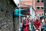 """""""Bodies in Urban Spaces"""" getting it's Welsh premiere in the streets of Swansea as part of the annual Dance Days festival in Swansea this afternoon.  The work involved twenty performers who are  a combination of professional dancers and members of local youth groups such as free runners, gymnasts, climbers or martial artists.<br /> It is a moving, performing trail which leads the audience through unseen and re-discovered spaces, encouraging them to reflect on their urban surroundings.<br /> As bodies are temporarily squeezed, arranged, balanced and rearranged along the route, the rules and restrictions of the urban environment are explored and perceived in a unique way – on the run! The work is choreographed by the Austrian artist Willi Dorner."""