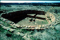 Kiva at El Morro National Monument.a Chacoan outlier shows a smaller more.rural kiva lacking the bench found in the great.kivas of Chaco