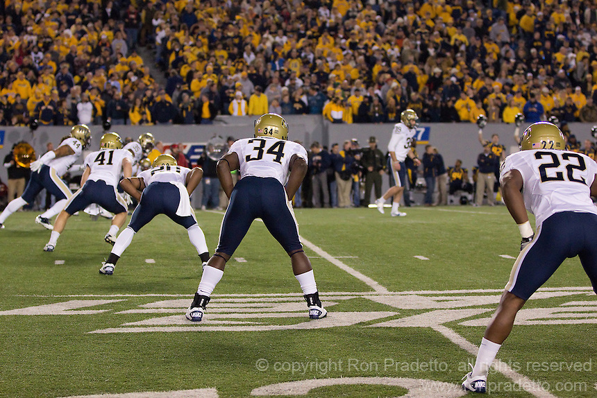 Pitt players lineup for oprning kickoff.The WVU Mountaineers beat the Pitt Panthers 21-20 at Mountaineer Field in Morgantown, West Virginia on November 25, 2011.