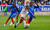 Harrison, N.J. - Sunday March 04, 2018: Mallory Pugh, Grace Geyoro during a 2018 SheBelieves Cup match between the women's national teams of the United States (USA) and France (FRA) at Red Bull Arena.
