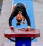 February 19, 2021: Towson University's Amy Stewart competes in the vault during the 2nd Annual George McGinty Alumni Meet at the SECU Arena at Towson University in Towson, Maryland. Scott Serio/Eclipse Sportswire/CSM