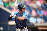 Trenton Thunder left fielder Trey Amburgey (14) at bat during a game against the Hartford Yard Goats on August 26, 2018 at Dunkin' Donuts Park in Hartford, Connecticut.  Trenton defeated Hartford 8-3.  (Mike Janes/Four Seam Images)