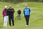 Celebrity Golf @ Golf Live.Colin Montgomerie gives a few short game tips to Sir Steve Redgrave and Jodie Kidd..Celtic Manor Resort.10.05.13.©Steve Pope