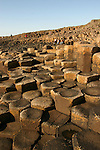 Columnar basalt rock formations at Giant's Causeway on the coast of  Northern Ireland