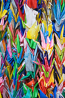 Origami Paper Cranes are part of the offerings and wishes at a Shinto Shrine