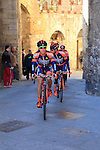 Nippo-Vini Fantini riders before the start of the 2015 Strade Bianche Eroica Pro cycle race 200km over the white gravel roads from San Gimignano to Siena, Tuscany, Italy. 7th March 2015<br /> Photo: Eoin Clarke www.newsfile.ie