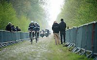 4 time Roubaix Champion Tom Boonen (BEL/OPQS) coming through sector 18: Pavé de la Trouée d'Arenberg<br /> <br /> 2014 Paris-Roubaix reconnaissance