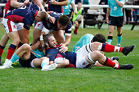 TRY - Alex Toolis of London Scottish goes over to score during the Championship Cup match between London Scottish Football Club and Nottingham Rugby at Richmond Athletic Ground, Richmond, United Kingdom on 28 September 2019. Photo by Carlton Myrie / PRiME Media Images
