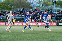 Boston, MA - Sunday May 07, 2017: Natasha Dowie and Morgan Andrews during a regular season National Women's Soccer League (NWSL) match between the Boston Breakers and the North Carolina Courage at Jordan Field.