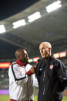 Carson, Ca-January 22, 2010:Bob Bradley of the USA men's national team is interviewed before a 1-1 tie with Chile at the Home Depot Center in Carson, California.