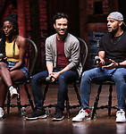 """Johanna Moise, Marc delaCruz and Terrance Spencer during the Q & A before The Rockefeller Foundation and The Gilder Lehrman Institute of American History sponsored High School student #EduHam matinee performance of """"Hamilton"""" at the Richard Rodgers Theatre on 5/22/2019 in New York City."""
