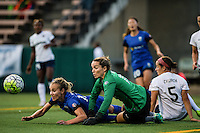 Seattle, WA - Sunday Sept. 11, 2016: Kelsey Wys, Whitney Church during a regular season National Women's Soccer League (NWSL) match between the Seattle Reign FC and the Washington Spirit at Memorial Stadium.
