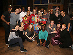 """Erica Mansfield, Will Chase, Kelli O'Hara, Corbin Bleu and the cast during the Broadway Opening Night Legacy Robe Ceremony honoring Erica Mansfield for  """"Kiss Me, Kate""""  at Studio 54 on March 14, 2019 in New York City."""
