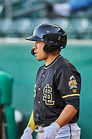 Kean Wong (5) of the Salt Lake Bees waits to bat against the Tacoma Rainiers at Smith's Ballpark on May 13, 2021 in Salt Lake City, Utah. The Rainiers defeated the Bees 15-5. (Stephen Smith/Four Seam Images)