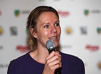 Januari 08, 2015, Rotterdam, ABNAMRO, Coolsingel, ABNAMROWTT Pressconference, Wheelchair tournament director Esther Vergeer explains<br /> Photo: Tennisimages/Henk Koster