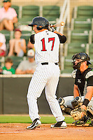 Ross Wilson #17 of the Kannapolis Intimidators at bat against the Augusta GreenJackets at CMC-Northeast Stadium on May 3, 2012 in Kannapolis, North Carolina.  The Intimidators defeated the GreenJackets 11-1.  (Brian Westerholt/Four Seam Images)