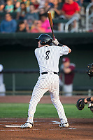 Idaho Falls Chukars second baseman Nathan Eaton (8) at bat during a Pioneer League game against the Great Falls Voyagers at Melaleuca Field on August 18, 2018 in Idaho Falls, Idaho. The Idaho Falls Chukars defeated the Great Falls Voyagers by a score of 6-5. (Zachary Lucy/Four Seam Images)