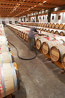 topping up wine barrels ch lafite rothschild pauillac medoc bordeaux france