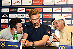 Mark Cavendish (GBR) Team Dimension Data and Marcel Kittel (GER) Team Katusha Alpecin at the top riders press conference for the Dubai Tour 2018 the Dubai Tour's 5th edition held at Dubai Frame in Zabeel Park, Dubai, United Arab Emirates. 5th February 2018.<br /> Picture: LaPresse/Massimo Paolone | Cyclefile<br /> <br /> <br /> All photos usage must carry mandatory copyright credit (© Cyclefile | LaPresse/Massimo Paolone)