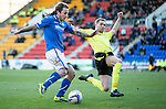 St Johnstone v St Mirren.....11.01.14   SPFL<br /> Stevie May's shot is saved by Christopher Dilo<br /> Picture by Graeme Hart.<br /> Copyright Perthshire Picture Agency<br /> Tel: 01738 623350  Mobile: 07990 594431