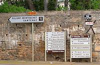 road sign meursault cote de beaune burgundy france