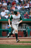 Fort Wayne TinCaps center fielder Jack Suwinski (2) runs to first base during a game against the Wisconsin Timber Rattlers on May 10, 2017 at Parkview Field in Fort Wayne, Indiana.  Fort Wayne defeated Wisconsin 3-2.  (Mike Janes/Four Seam Images)