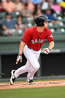 Right fielder Ryan Scott (30) of the Greenville Drive bats in a game against the Lexington Legends on Friday, June 30, 2017, at Fluor Field at the West End in Greenville, South Carolina. Lexington won, 17-7. (Tom Priddy/Four Seam Images)