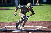 Vanderbilt Commodores right fielder Isaiah Thomas (8) sprints to first against the South Carolina Gamecocks at Hawkins Field in Nashville, Tennessee, on March 21, 2021. The Gamecocks won 6-5. (Danny Parker/Four Seam Images)