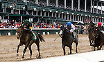 LOUISVILLE, KY -SEP 17: Society Beau (far left, green silks, jockey Brian J. Hernandez Jr.) wins the 6th race at Churchill Downs, a 6F Maiden for two year olds. Owner B.C.W.T. Ltd (Barbara Webber), trainer Neil J. Howard. By Curlin x Seattle Society (A.P. Indy) (Photo by Mary M. Meek/Eclipse Sportswire/Getty Images)