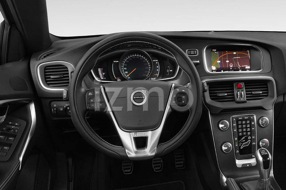 Car pictures of steering wheel view of a 2018 Volvo V40 R-Design 5 Door Hatchback