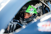 Sep 4, 2016; Clermont, IN, USA; NHRA pro stock driver Alex Laughlin during qualifying for the US Nationals at Lucas Oil Raceway. Mandatory Credit: Mark J. Rebilas-USA TODAY Sports